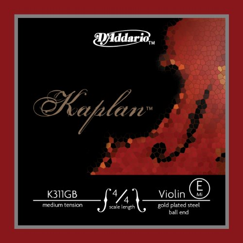 D'Addario Kaplan Gold-Plated Ball End Violin Single E String, 4/4 Scale, Medium Tension